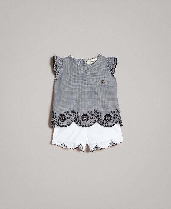 Gingham-Bluse und Shorts aus Popeline