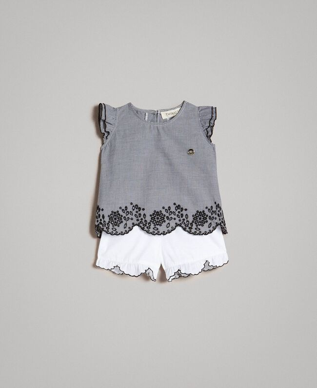 Gingham blouse and poplin shorts Two-tone Gingham / Optical White Child 191GB2192-01