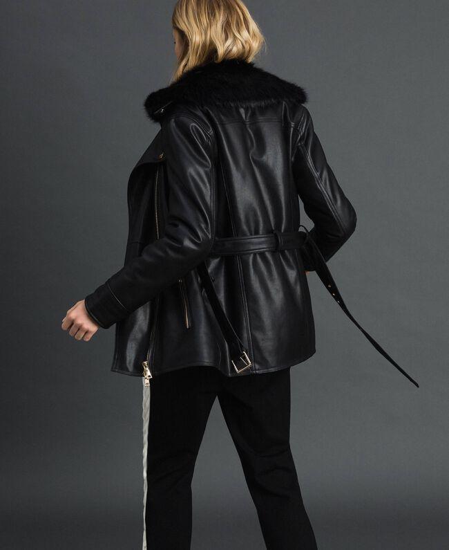 Perfecto long en similicuir avec ceinture Noir Femme 192MP2030-03