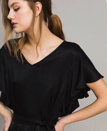 Robe en satin avec ceinture Noir Femme 191TT2450-04