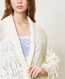 Lace stitch maxi cardigan with fringes White Snow Woman 211TT3030-05