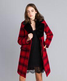 "Checked coat Bicolour ""Poppy"" Red / Black Tartan Woman YA82DQ-01"
