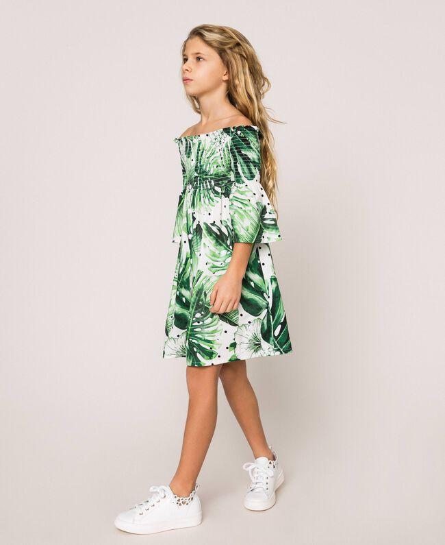 Tropical print dress Green Polka Dot Tropical Print Child 201GJ2302-03
