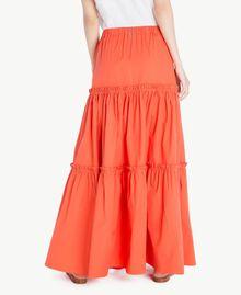 Long poplin skirt Orange Woman TS821V-03
