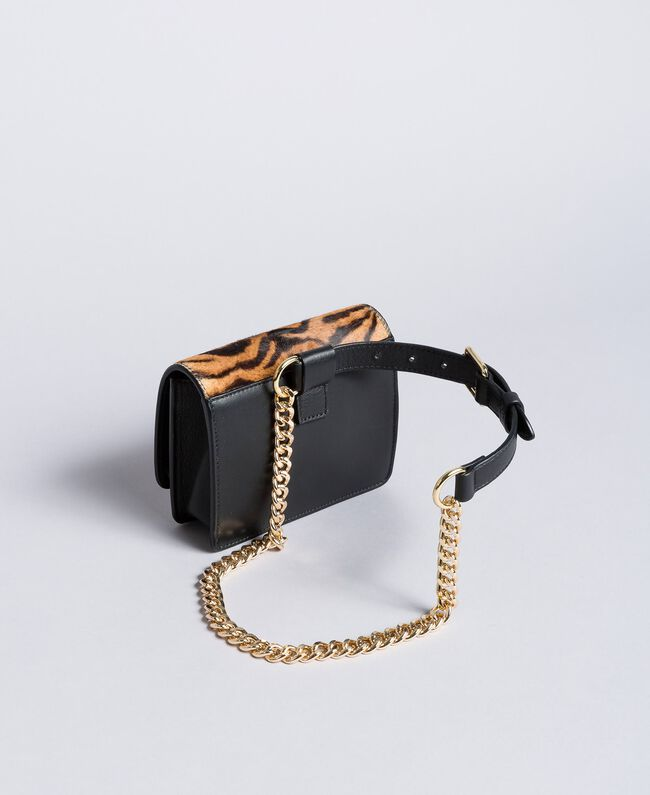 Leather and calf hair belt bag Tiger Print Woman OA8TDR-03