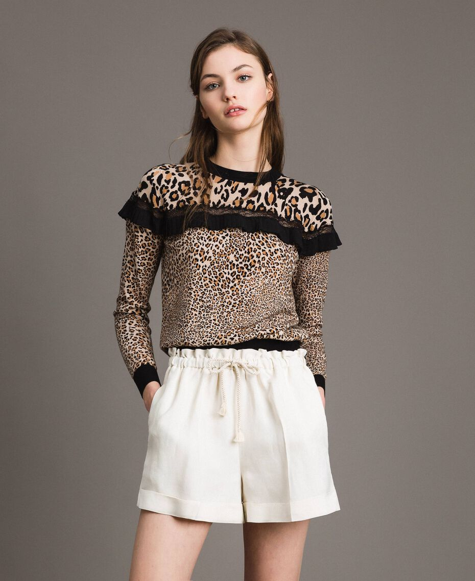 Animal print top with lace Mixed Animal Print Woman 191TP3413-02