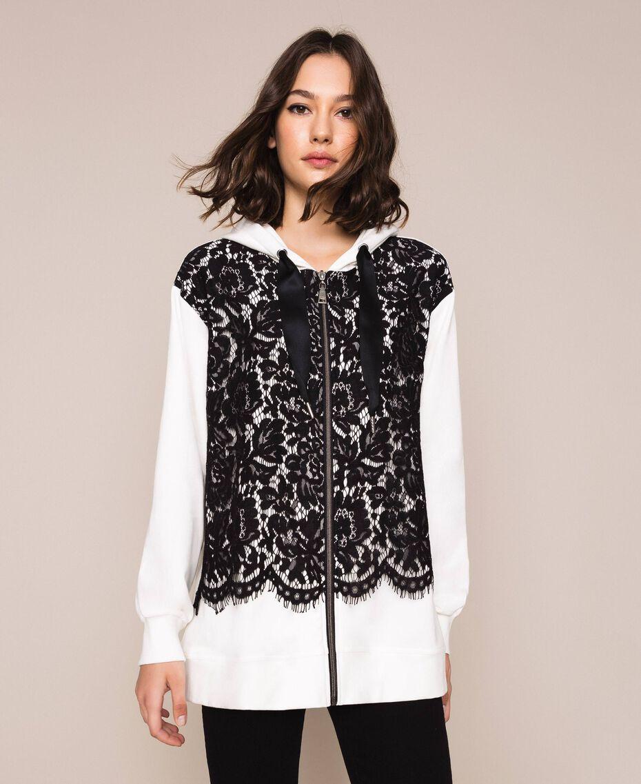Maxi sweat-shirt avec dentelle Bicolore Lis/ Noir Femme 201MP2141-01