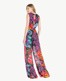 Printed jumpsuit Sixties Style Flower Print Woman TS824C-03