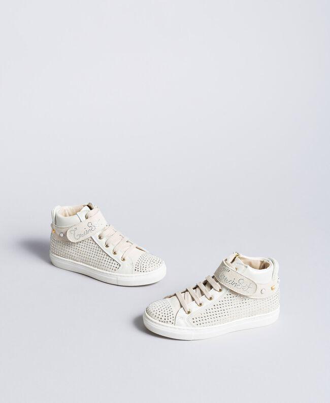 Sneakers aus Leder und Strass Mattweiß Kind HA86DA-04