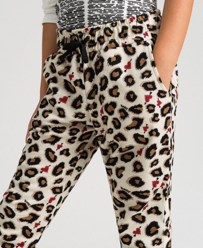 Animal print trousers with hearts Leopard Print Child 192GJ2330-03