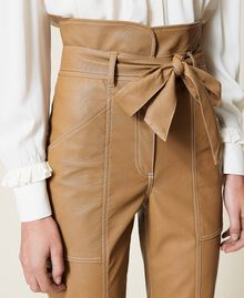 """Coated fabric carrot fit trousers """"Rum"""" Brown Woman 212TP2021-05"""