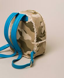 Canvas backpack with patch and fringes Camouflage Print / Vivid Blue Woman 201MO8041-04