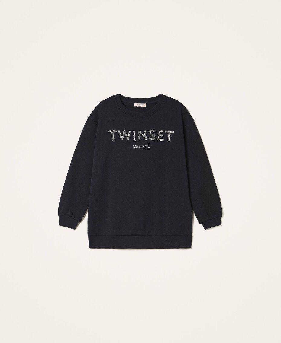 Sweatshirt mit Logo und Stickerei Schwarz Frau 202TP2660-0S