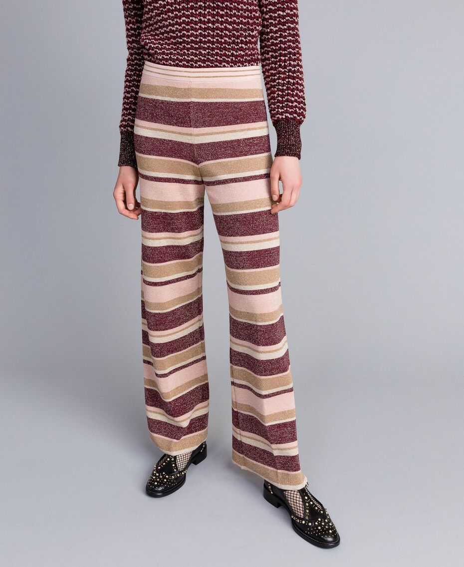 Striped lurex palazzo trousers Multicolour Pink / Burgundy Woman PA832Q-01