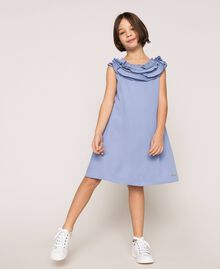 "Georgette dress with pleated ruffles ""Ice"" Dark Blue Child 201GJ2QE0-04"