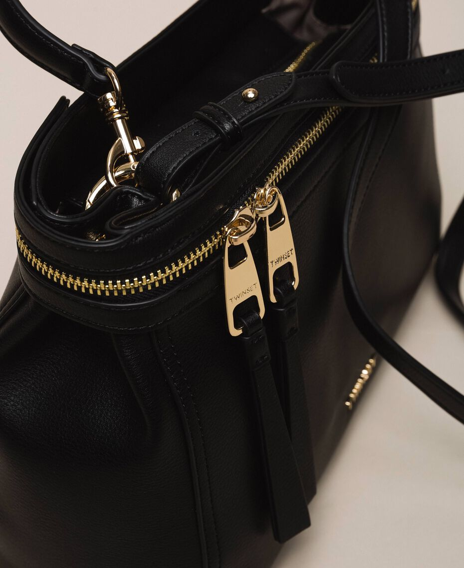 Large faux leather New Cécile bag Black Woman 201TO8180-02