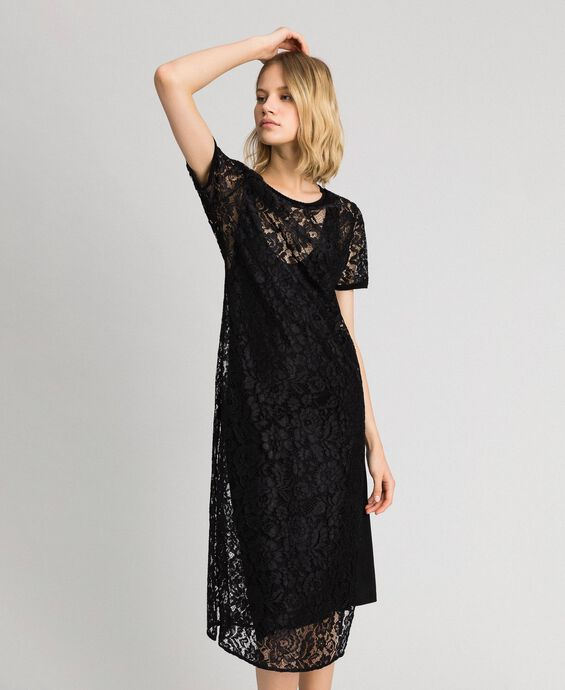 Long lace dress with slip