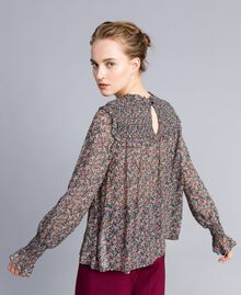 Floral print georgette blouse Multicolour Micro Flower Print Woman PA82MB-03