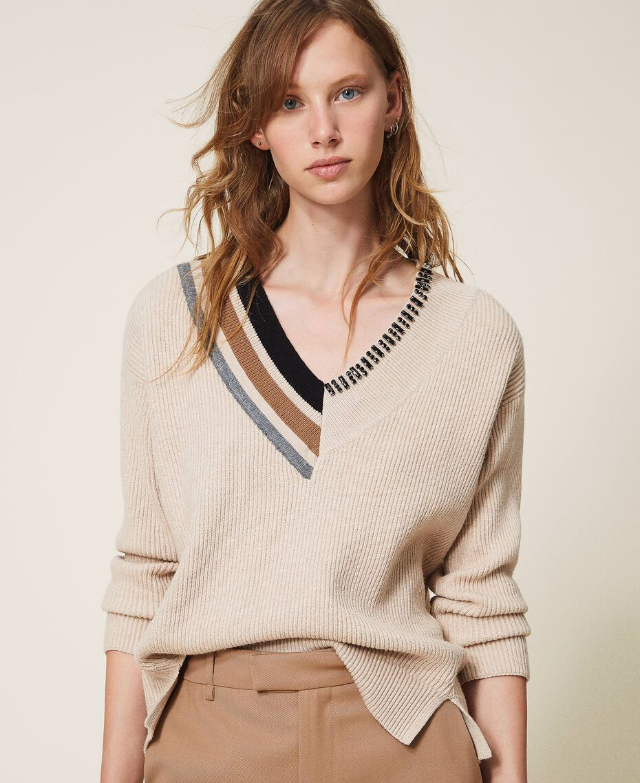 "Ribbed jumper with embroidery ""Nude"" Beige Woman 202ST3090-01"