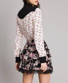 """Minijupe volantée en crêpe georgette floral Imprimé Noir Rose """"Bouquet Rose"""" Femme 191TP2714-04"""