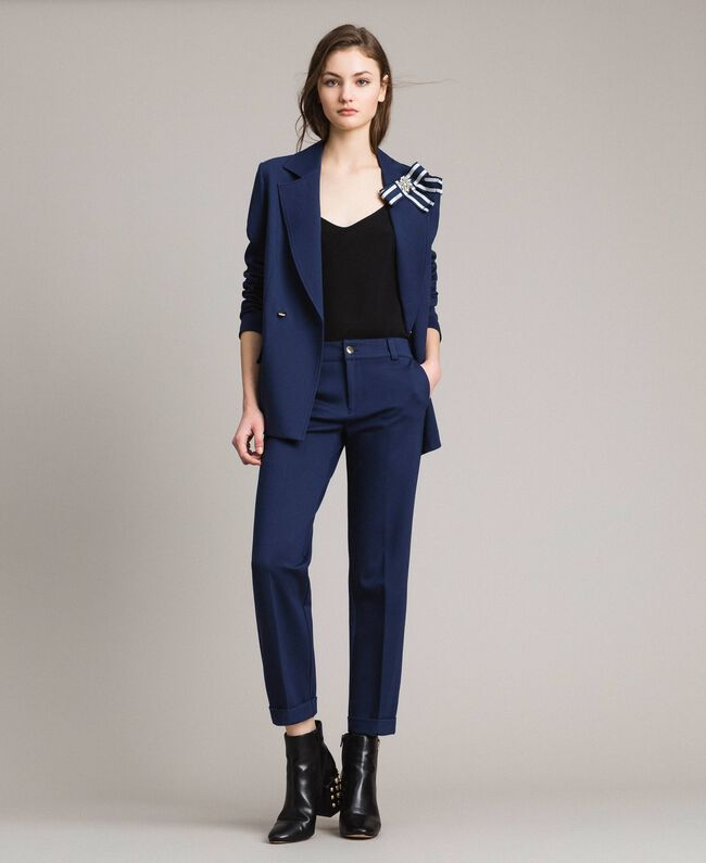 Double-breasted blazer jacket with cockade Indigo Woman 191MP2150-0T
