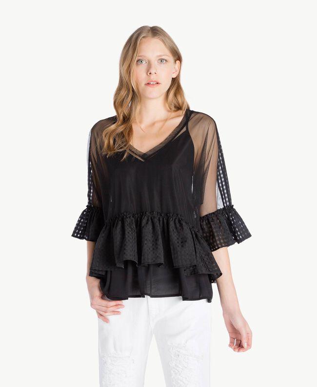 Bluse aus Tüll Schwarz Frau YS82GP-01