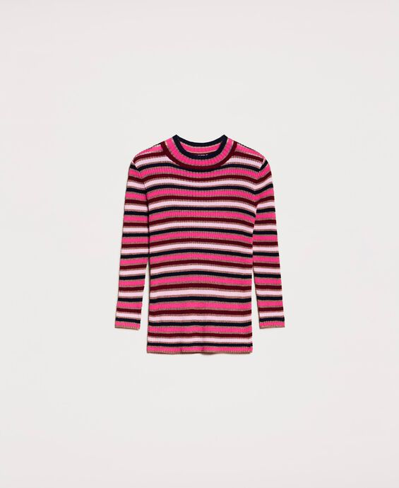 Multicolour stripe turtleneck jumper