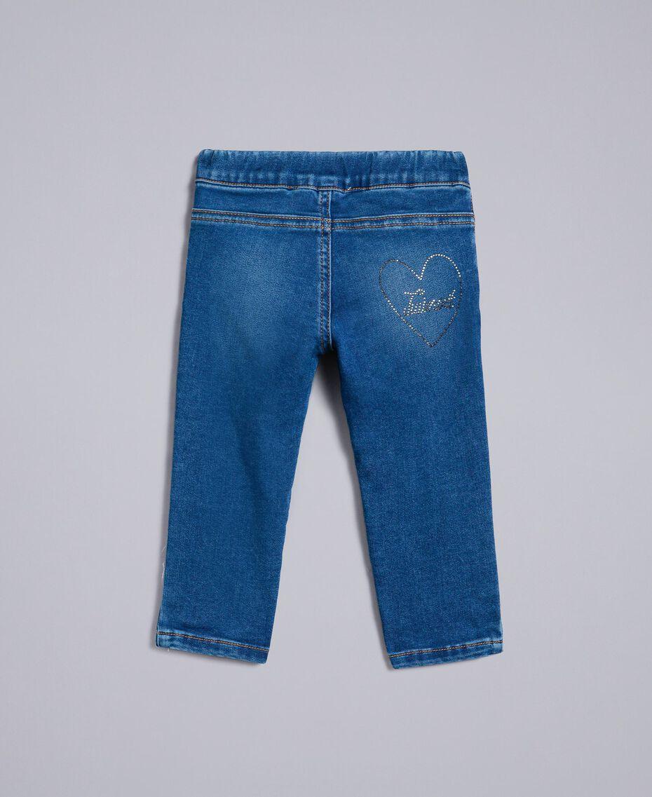 """Jeans aus Denim mit Strass Mittleres """"Denimblau"""" Kind FA82VN-0S"""