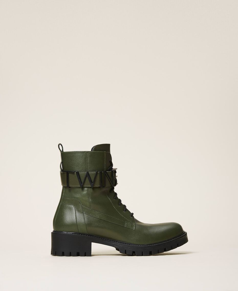 Combat boots with lettering logo Dark Olive Green Woman 202TCP03G-02