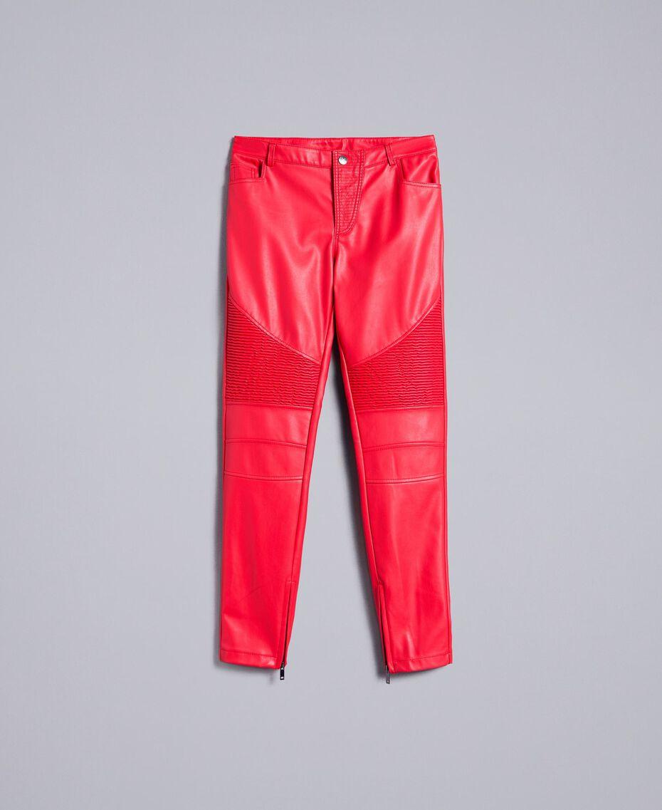 Pantalon biker en similicuir Rouge Coquelicot Femme JA82DE-0S
