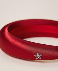 Satin headband with rhinestone charm