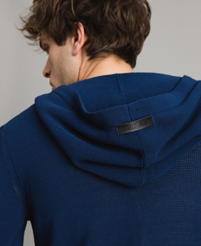 Gemischter Baumwoll-Strickpullover mit Kapuze Blackout Blau Mann 191UT3080-04