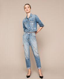 Blouson en jean avec strass Bleu Denim Femme 201MP2271-0T