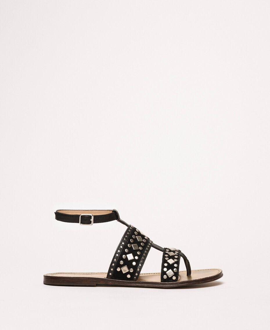 Flache Sandale aus Leder mit Nieten Schwarz Frau 201TCT04A-02