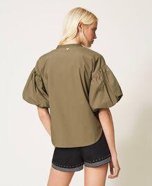 Bluse aus Popeline mit Stickerei Alpengrün Frau 211TT2472-04