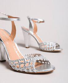 Sandales en cuir tressé laminé Argent / Nickel Femme 191TCT01J-04