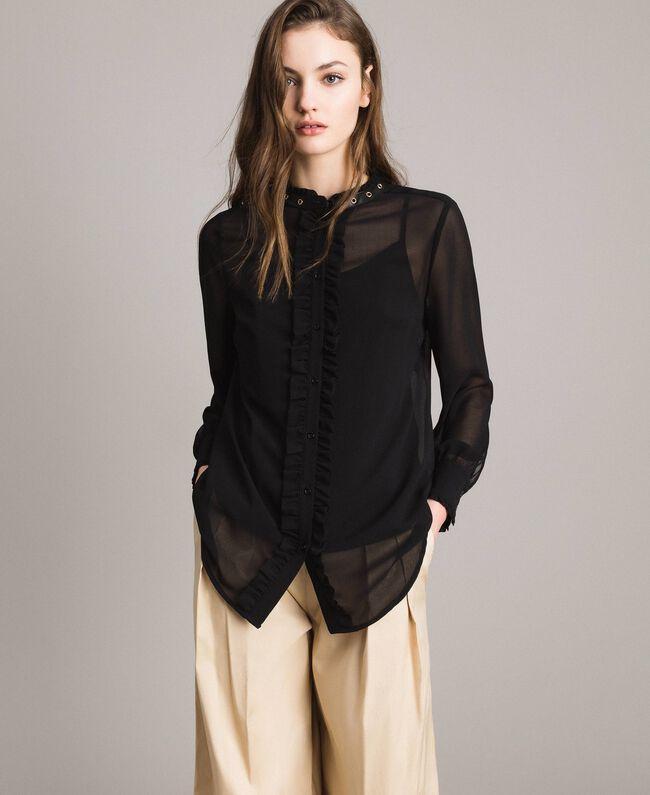 6568e00d4a65 Рубашка из жоржета с рюшами женщина, черный | TWINSET Milano