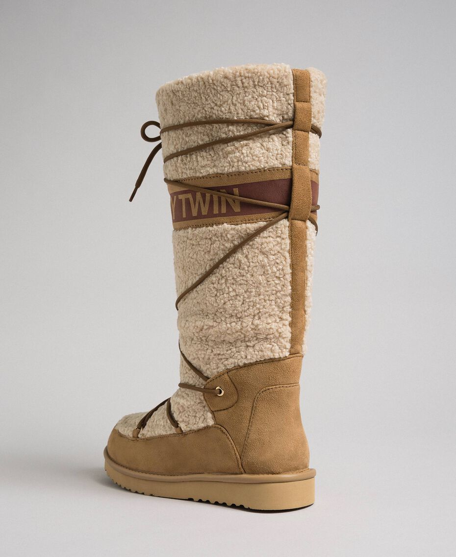 Faux fur boots with tie-up laces and logo Irish Cream Hazelnut Woman 192MCT180-02