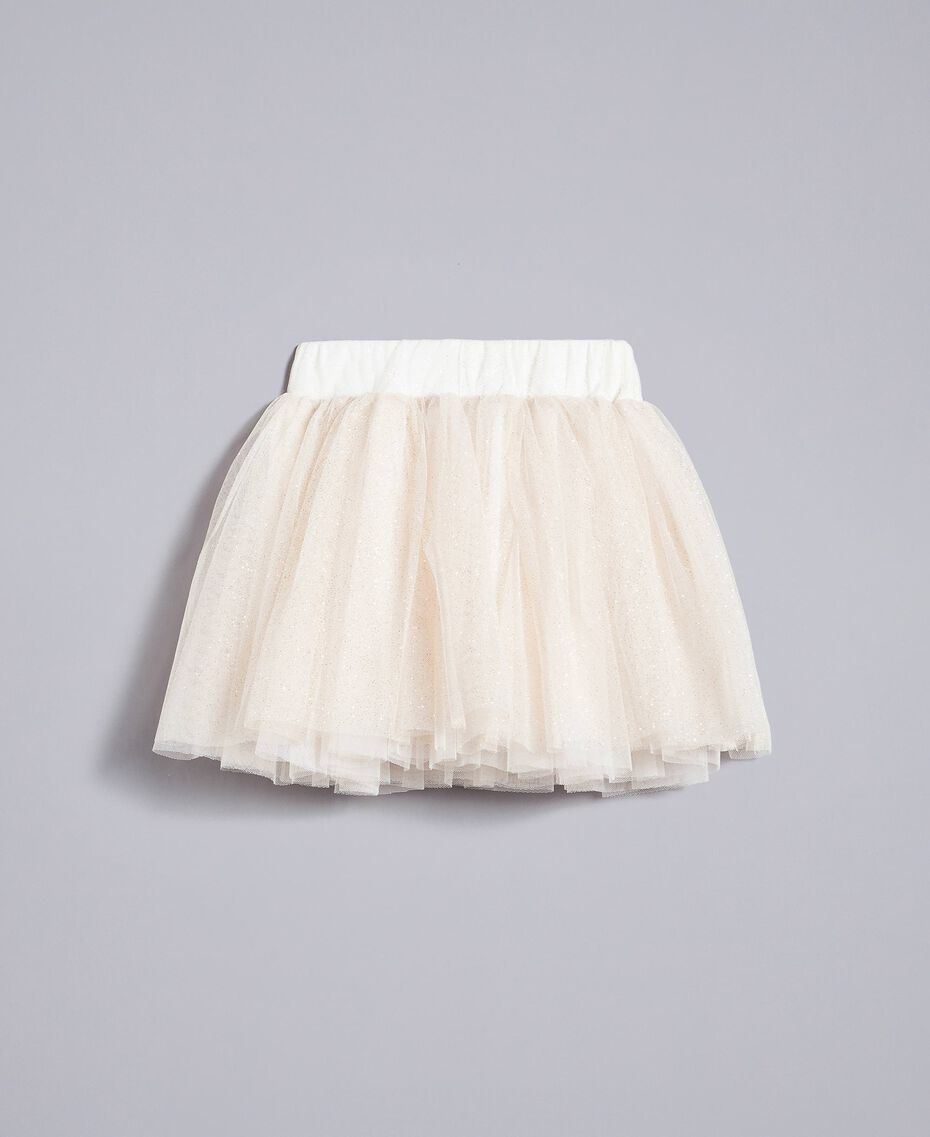 Gonna in tulle lurex Bicolor White / Lurex Oro Bambina FA82L3-0S