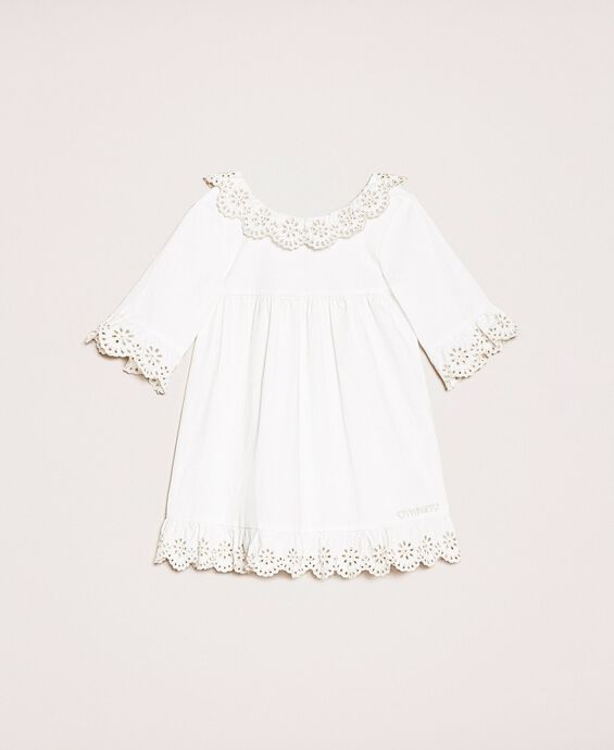 Poplin dress with broderie anglaise