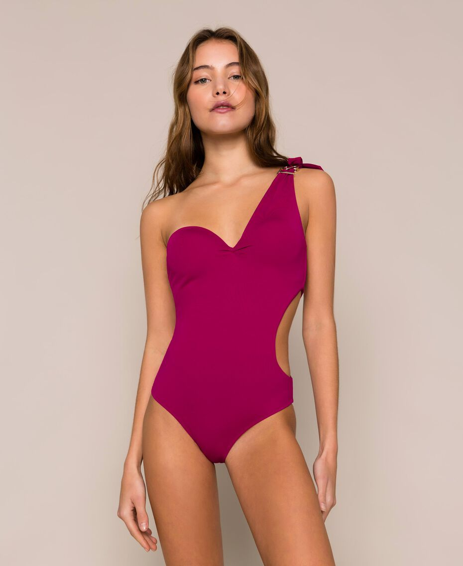 Logo one-shoulder one-piece swimsuit Hot Fuchsia Woman 201LBMHYY-02