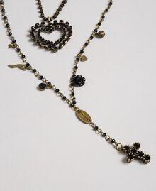 Collier chapelet avec mélange de chaînes et pendentifs Noir Femme 192TA436F-02