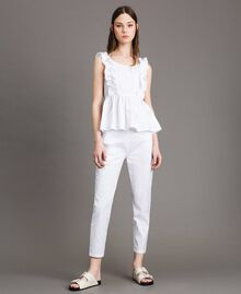 Leggings en popeline Crème White Femme 191MP2214-01