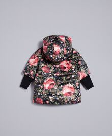 Printed nylon padded jacket Black with Pink Rose Print Child FA82AR-0S