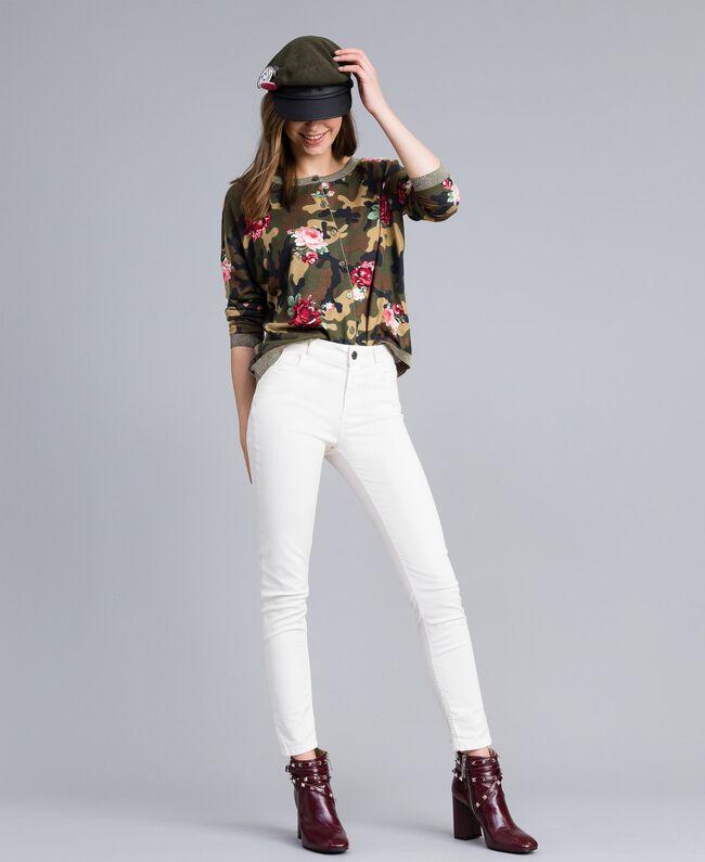 Pantalon skinny en gabardine stretch Nacre Femme JA82W1-01