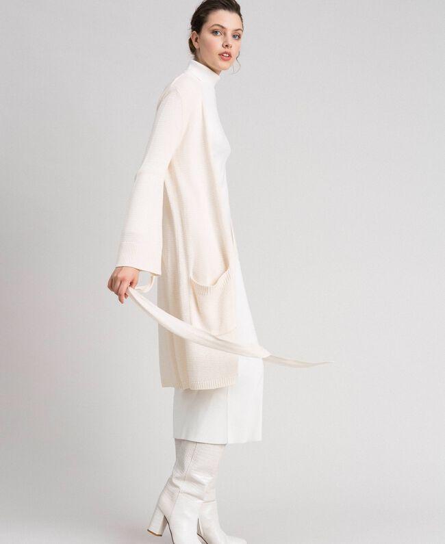Maxi cardigan with belt Pale Peach Rose Woman 192LI32AA-01
