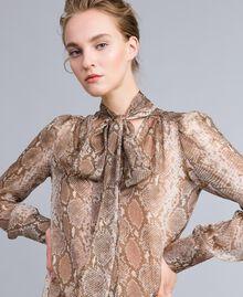 Camicia in chiffon di seta animalier Stampa Camel Snake Donna PA829D-01