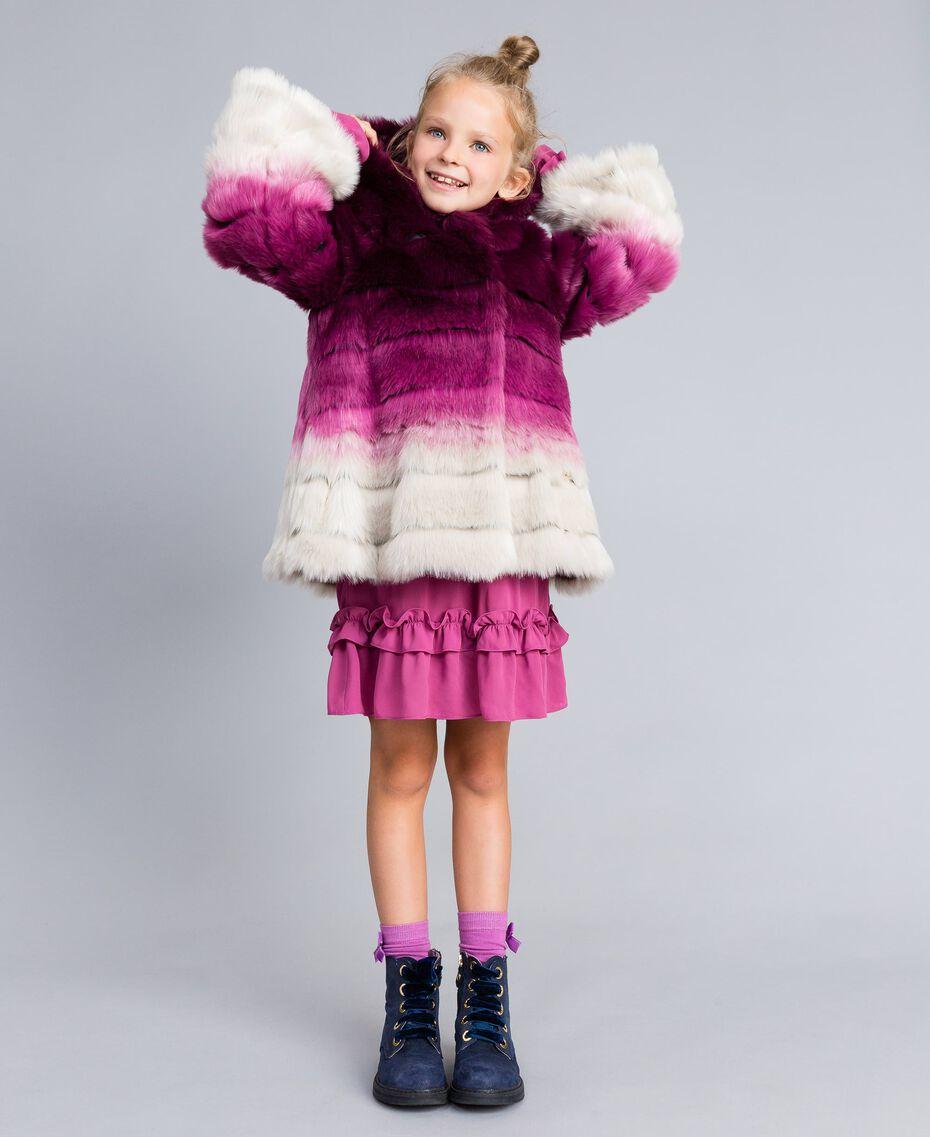 Veste réversible en fausse fourrure Imprimé Dégradé Violet Raisin/ Rose Bougainvillier Enfant GA82AR-0S
