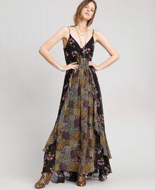 Slip dress with floral print Black Mixed Flowers Print Woman 192TT2144-05