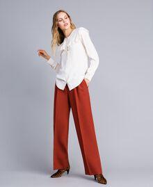Camicia in misto seta con ruches Bianco Neve Donna TA823E-01